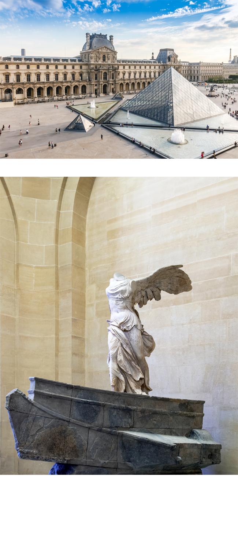 (上圖)法國羅浮宮外觀 (下圖)勝利女神之翼