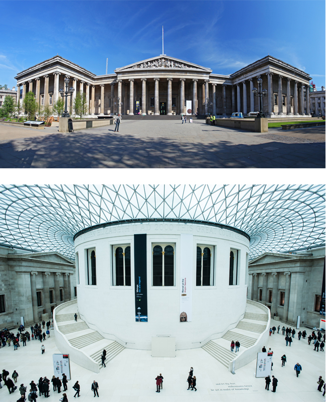 (上圖)如同百科全書的大英博物館 (下圖)著名的大中庭