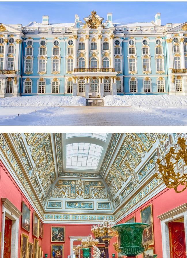 (上圖)金璧輝煌的冬宮博物館及其內部裝飾