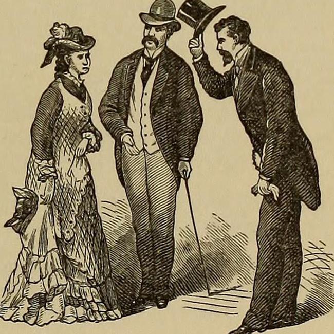 約西元1881年間出版的書籍插圖,談論到若在街上若遇見可能認識的人,彼此互相介紹的禮儀。
