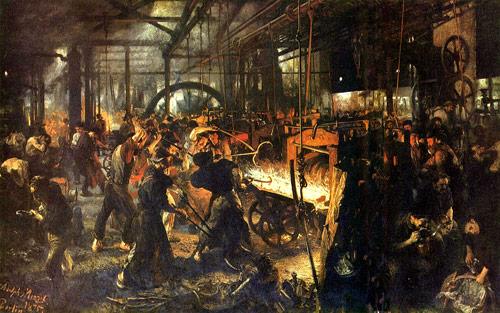 阿道夫.馮.門采爾所畫工業革命初期的工廠油畫