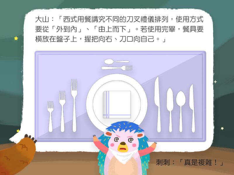 大山:西式用餐講究不同的刀叉禮儀排列,使用方式要從外到內、由上而下。若使用完畢,餐具要橫放在盤子上,握把向右、刀口向自己。刺刺:真是複雜!