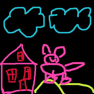 雲和房子和兔子