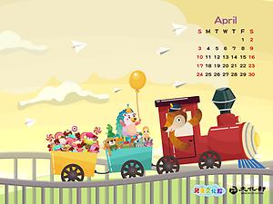 2016年4月月曆桌布示意圖