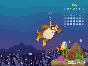 2016年7月月曆桌布示意圖